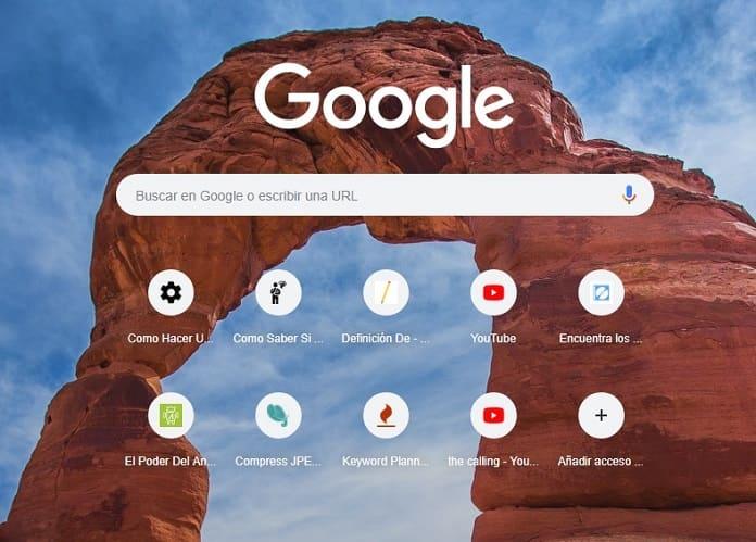 cambiar paisaje de google chrome