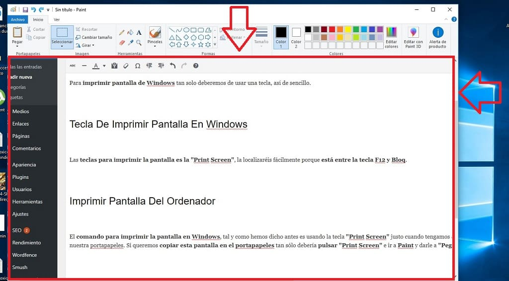 imprimir pantalla de windows 10
