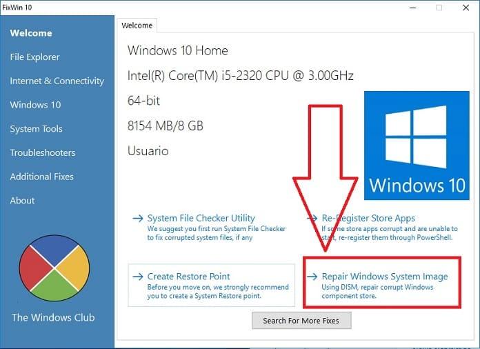 reparar imagen de windows 10