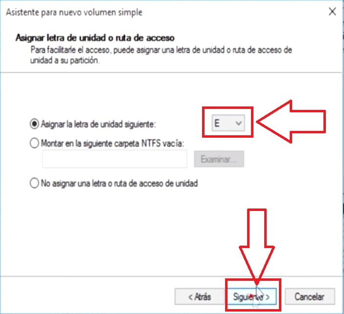 partición en windows 10.