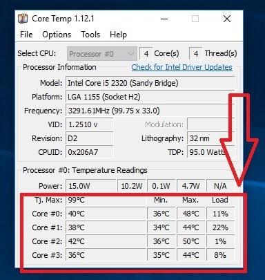 ver temperatura del cpu windows 10