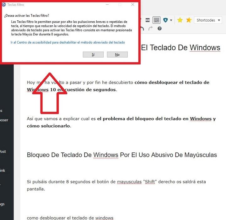 activar teclas de filtro en windows 10