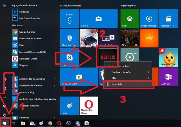 desinstalar un programa de windows 10 desde inicio