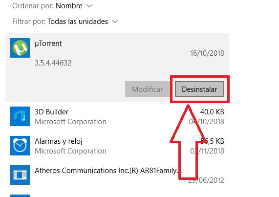 desintalar programas en windows 10 que no se dejan