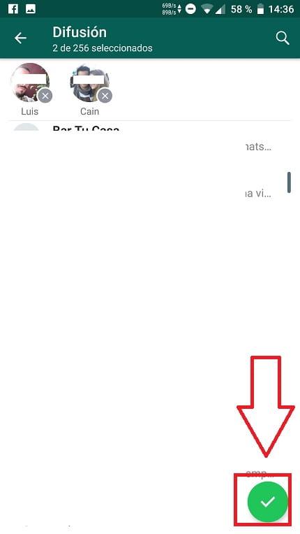 Lista de difusión de WhatsApp.