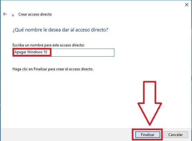 nombrando acceso directo.