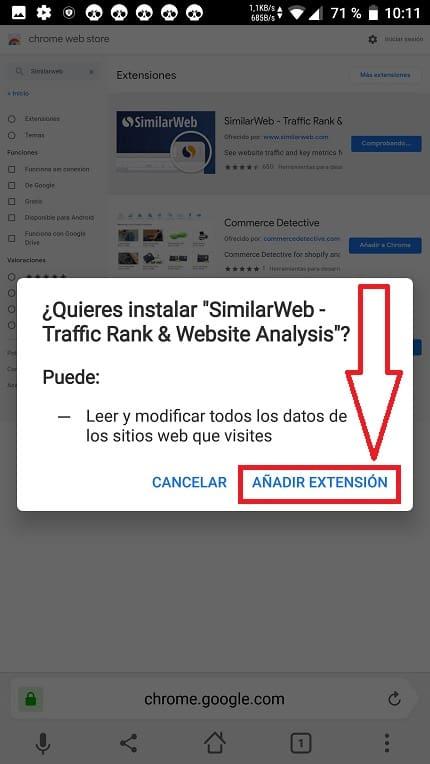 Añade Extensiones.