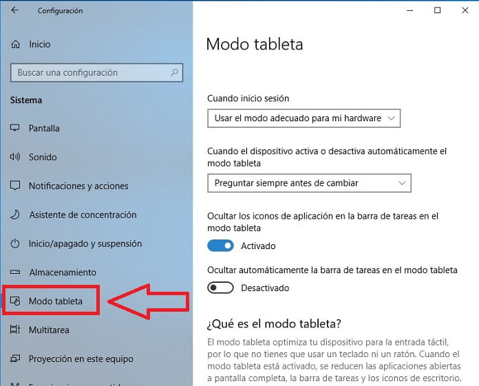 modo tablet windows 10.