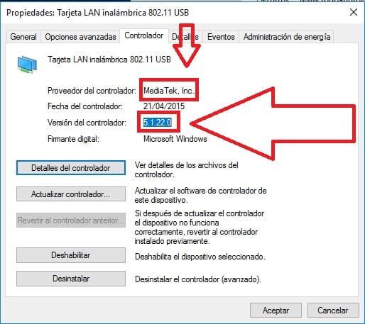 windows 10 no reconoce mi antena wifi
