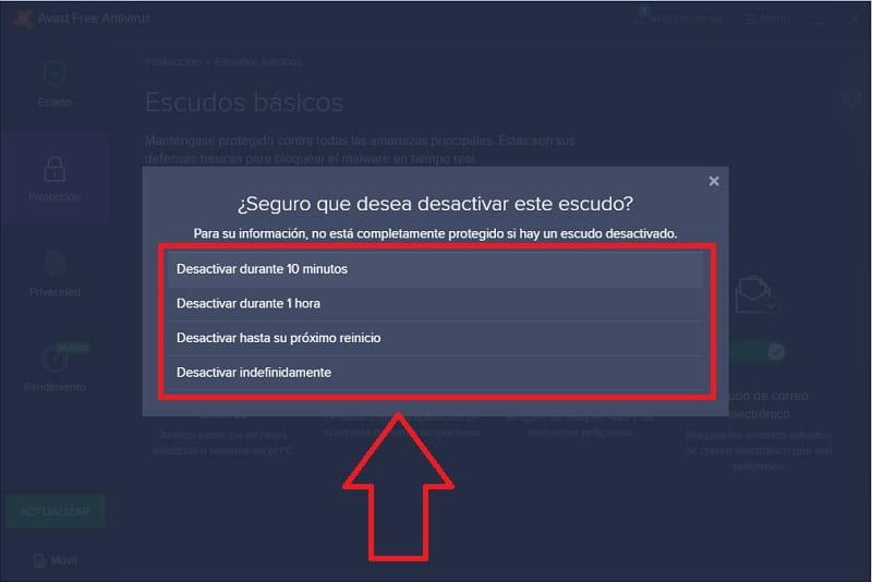 desactivar momentaneamente avast free antivirus