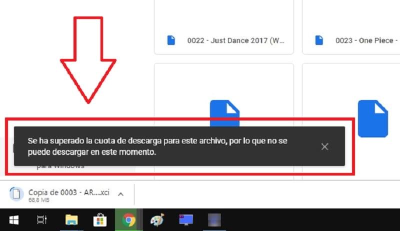 limite de descarga google
