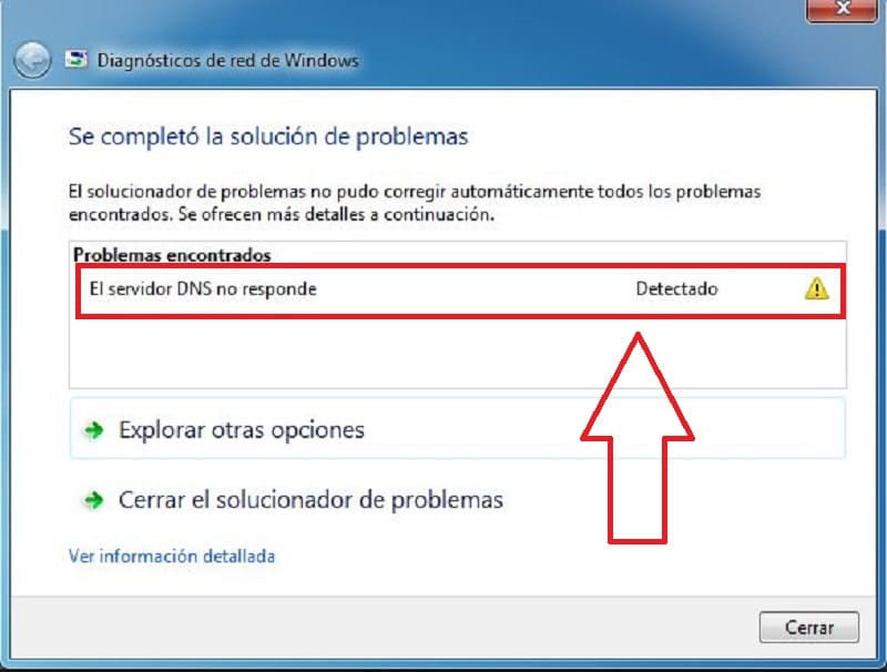 servidor DNS no responde en windows 10.
