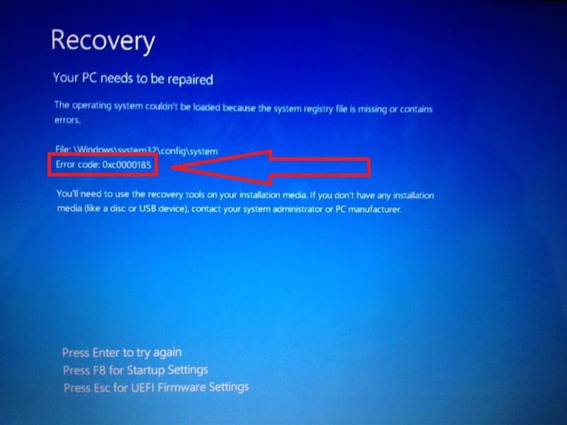 Error 0xc0000185 En Windows 10