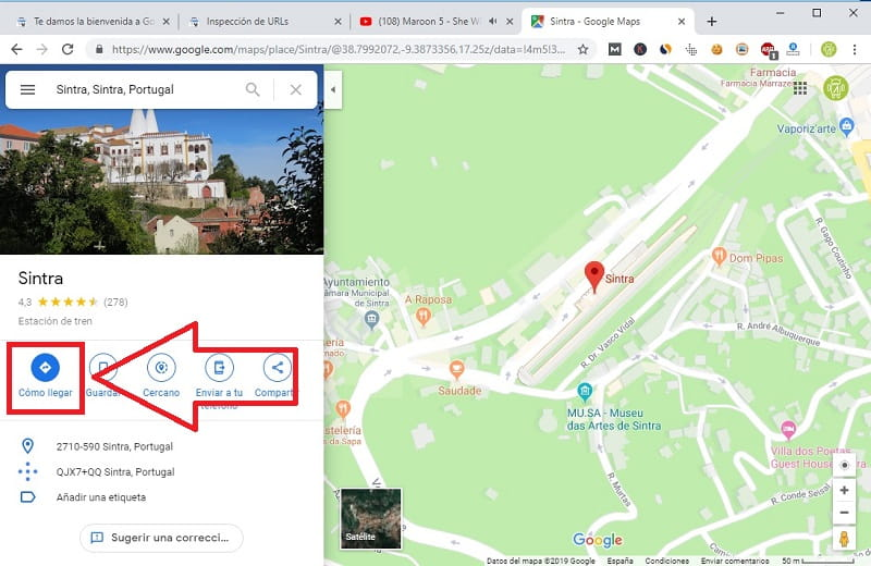 añadir ruta en google maps windows 10