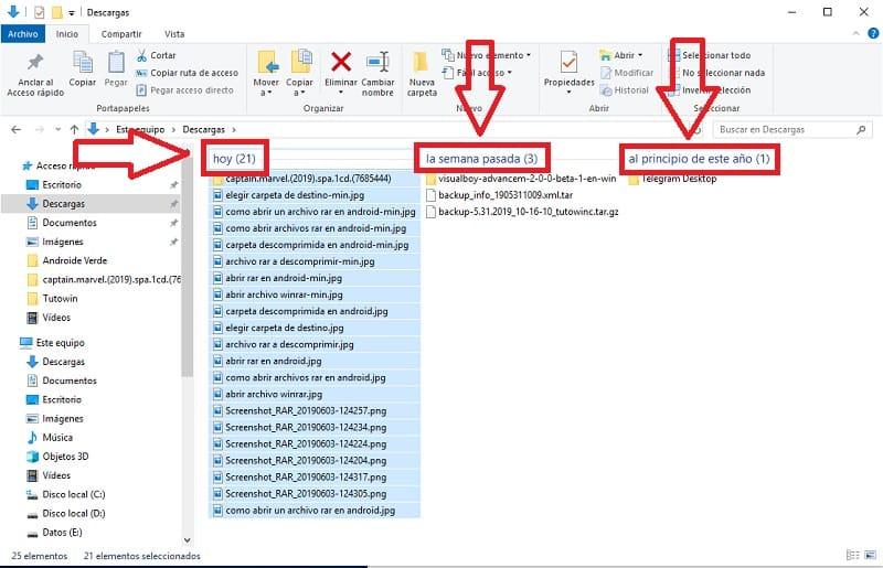 deshabilitar que windows 10 me agrupe las descargas por fechas.