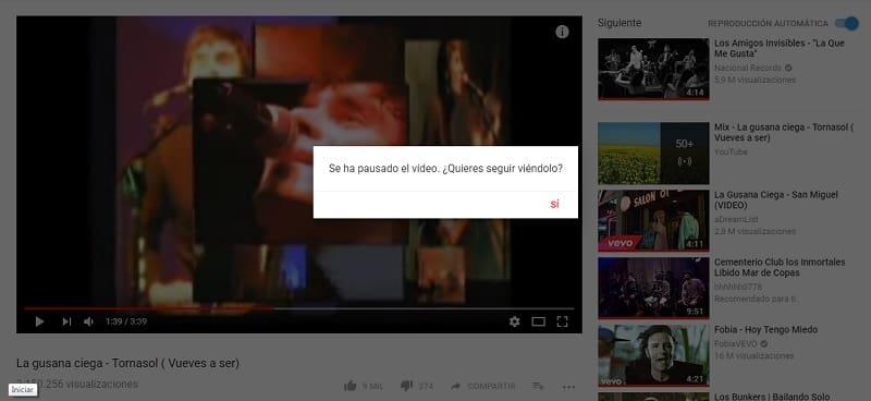 youtube pausa los videos