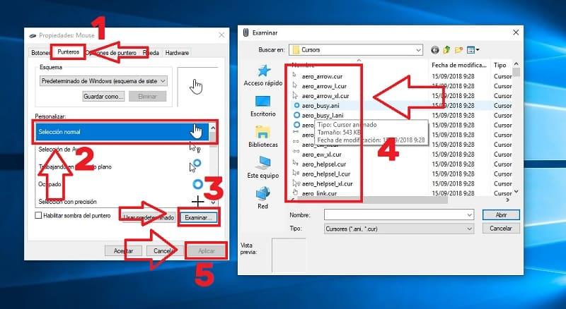 como cambiar puntero del raton windows 10