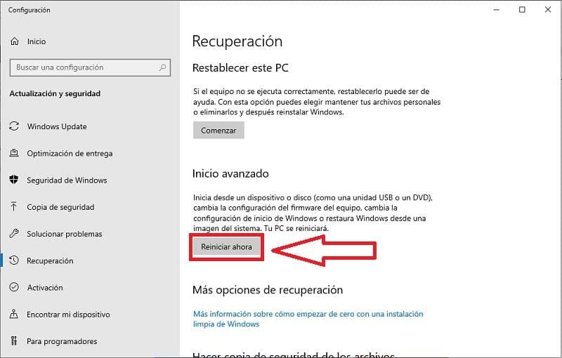 windows 10 modo seguro arranque