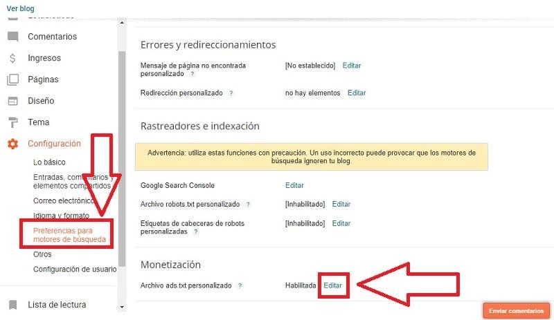 pasos para añadir ads.txt en blogger.