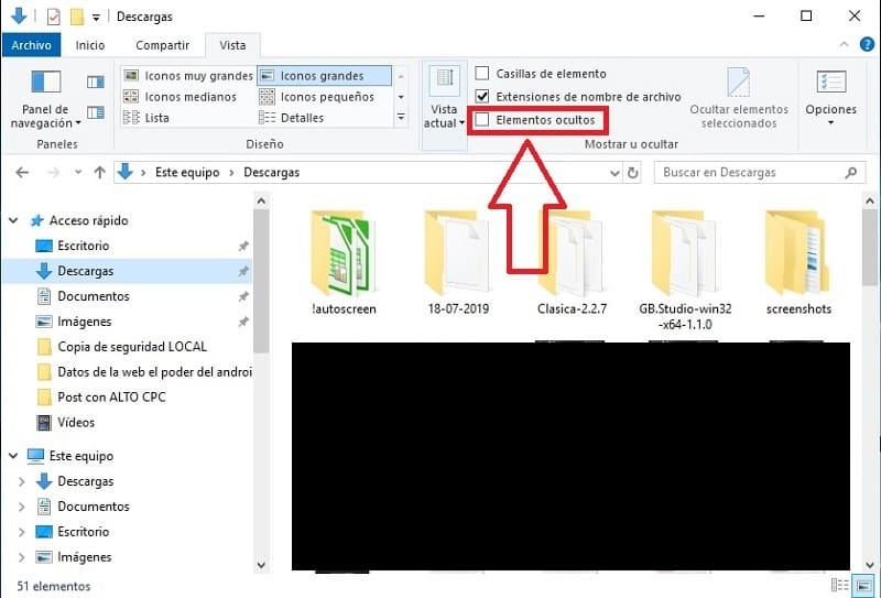 ocultar archivos windows 10