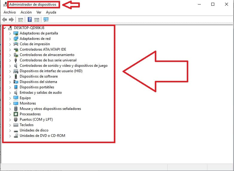 buscar administrador de dispositivos en windows 10