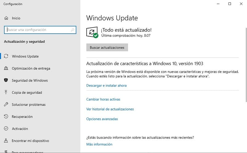 windows update no se esta ejecutando