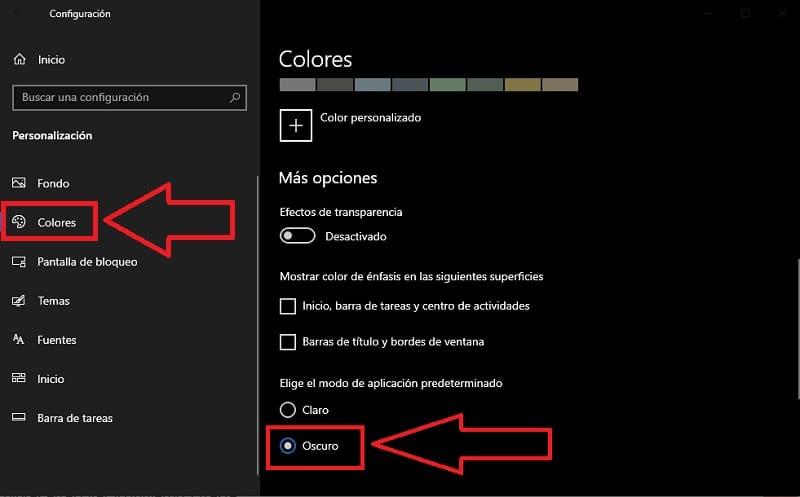 activar modo oscuro windows 10
