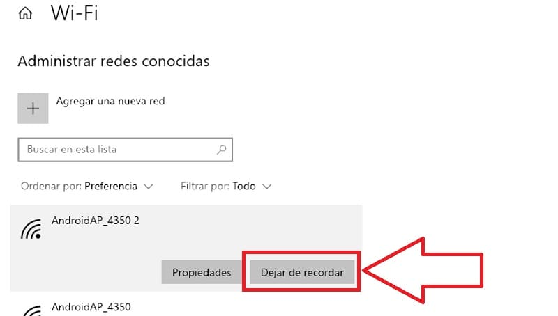 como eliminar un red wifi en windows 10