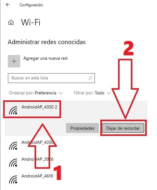 como eliminar una red wifi en windows 10 cmd