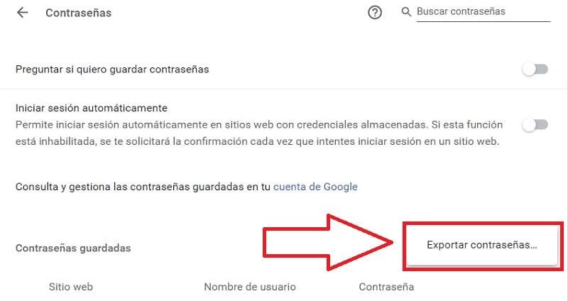 exportar contraseñas google chrome