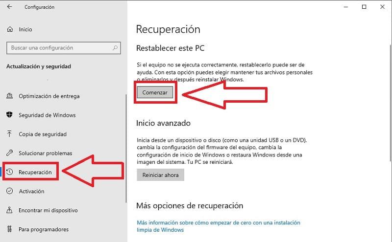 como formatear windows 10 sin perder archivos