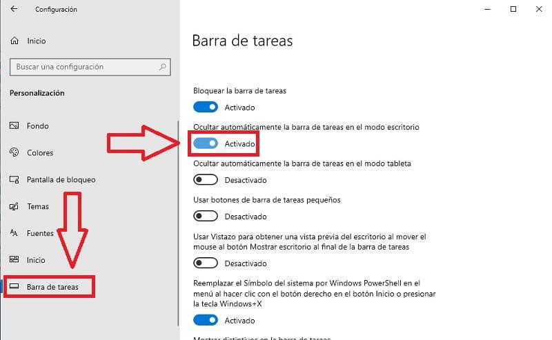 ocultar automaticamente la barra de tareas no funciona