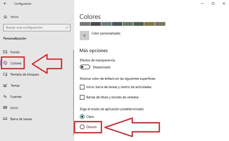 modo oscuro google windows 10