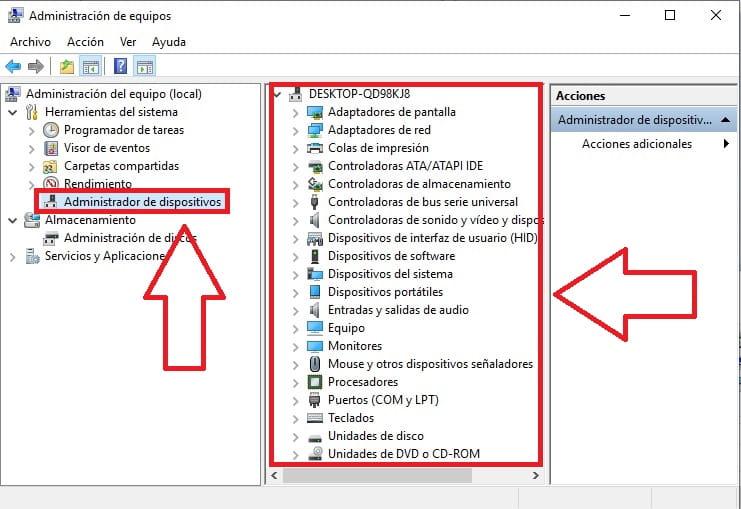 acceder a administrador de dispositivos