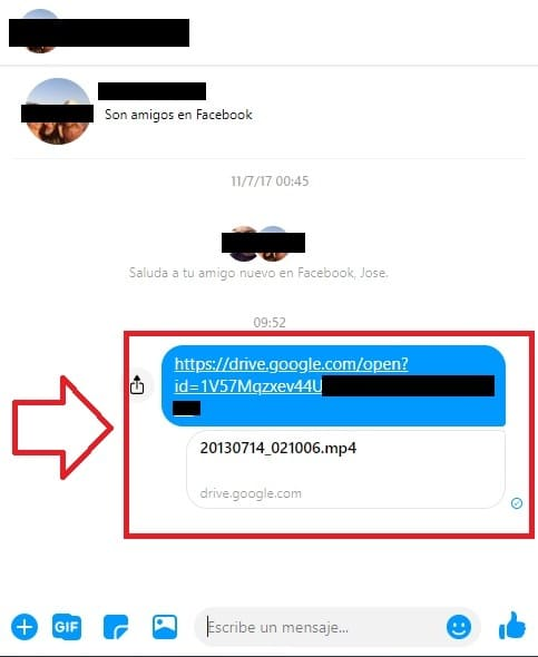 como compartir videos de facebook por messenger