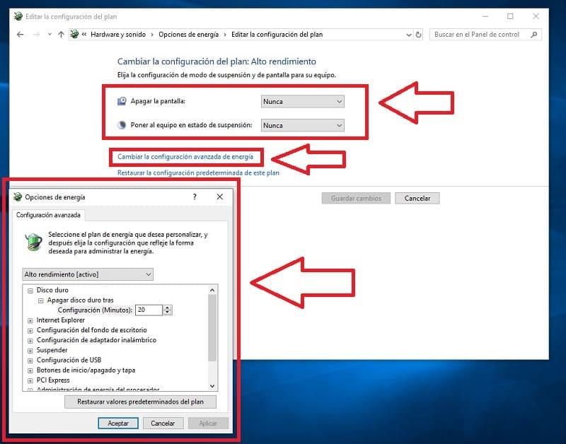configurar alto rendimiento windows 10