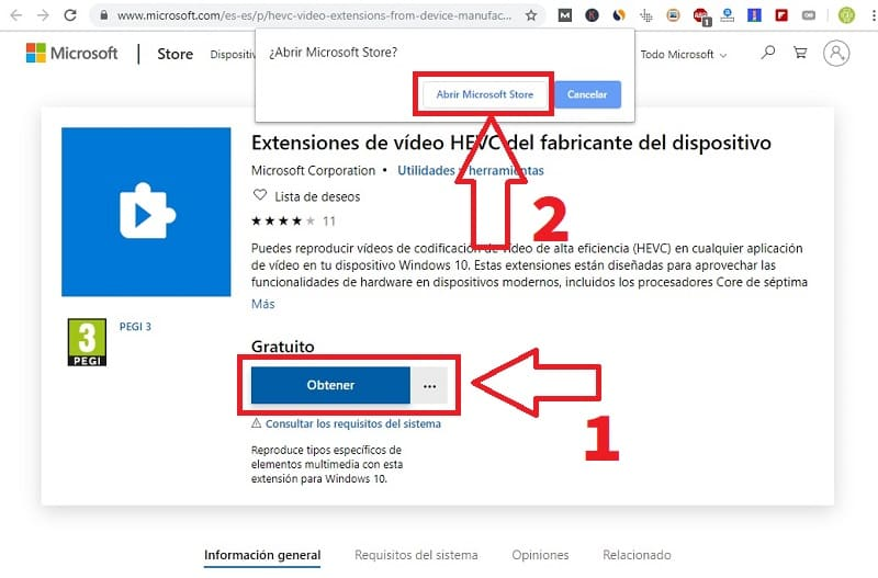 codec hevc windows 10 descargar gratis.