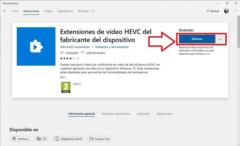 descargar codec hevc windows 10 gratis.