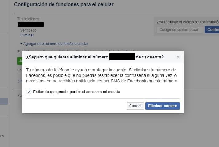quitar numero de telefono en facebook