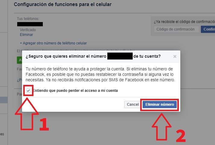 como eliminar el numero de telefono de la cuenta de facebook