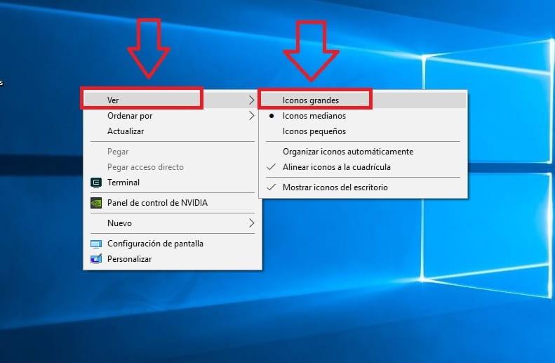 como agrandar los iconos del escritorio en windows 10