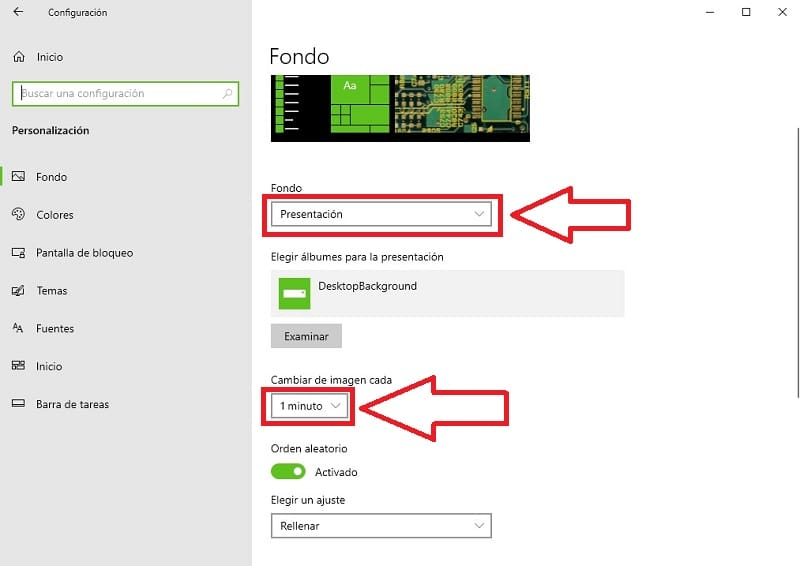 cambiar fondo de pantalla automáticamente windows 10.