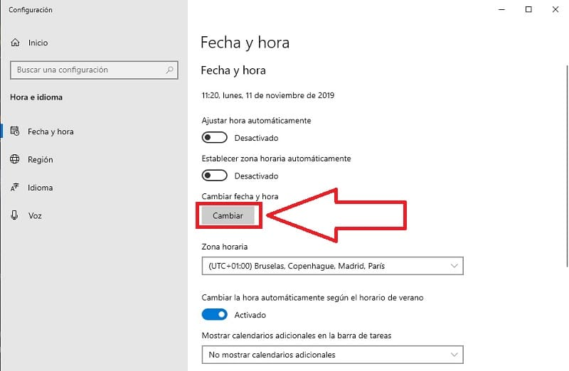 cambiar fecha windows 10