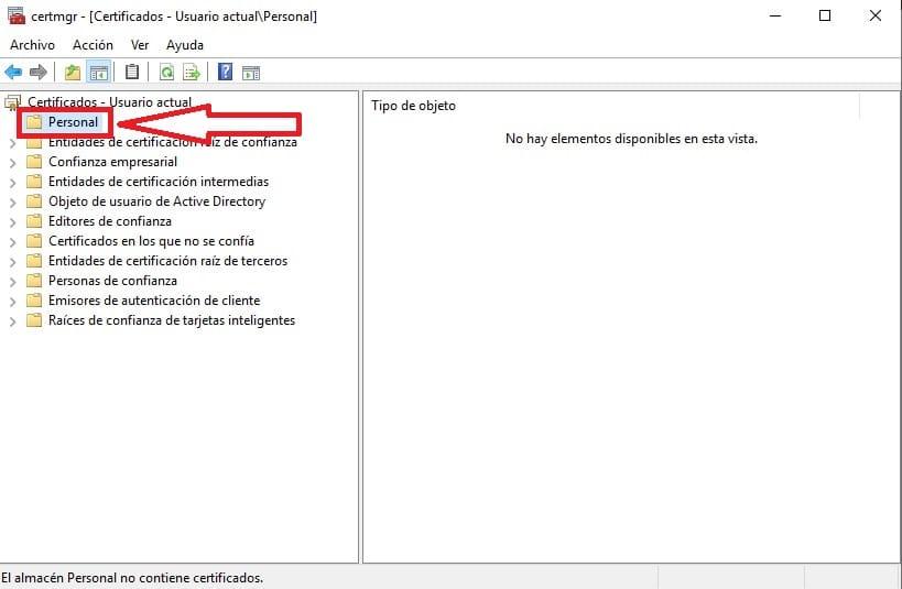 certificados digitales windows 10