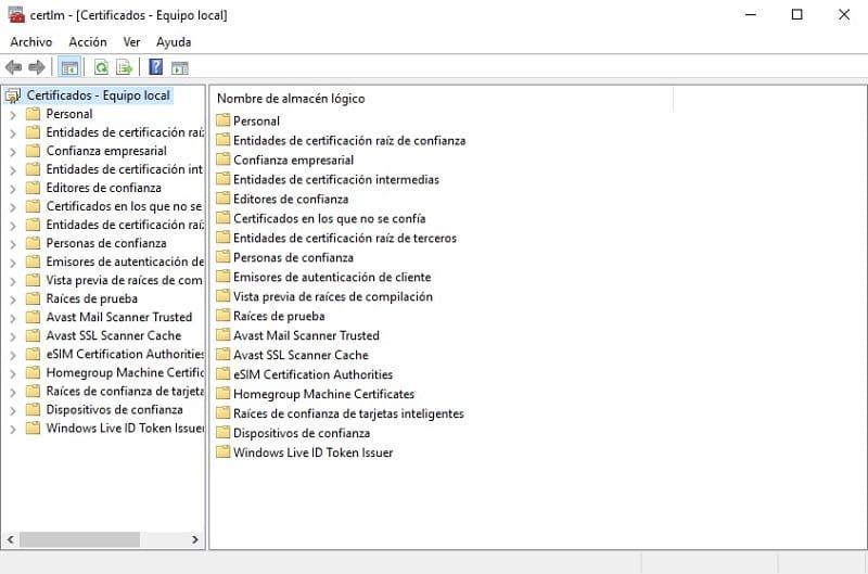 donde se almacenan certificados digitales windows 10