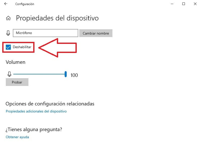 desactivar microfono windows 10