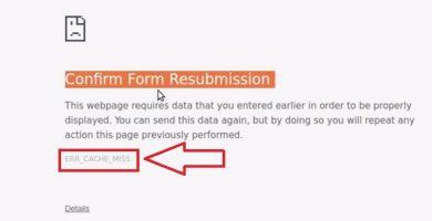 reparar el error err_cache_miss