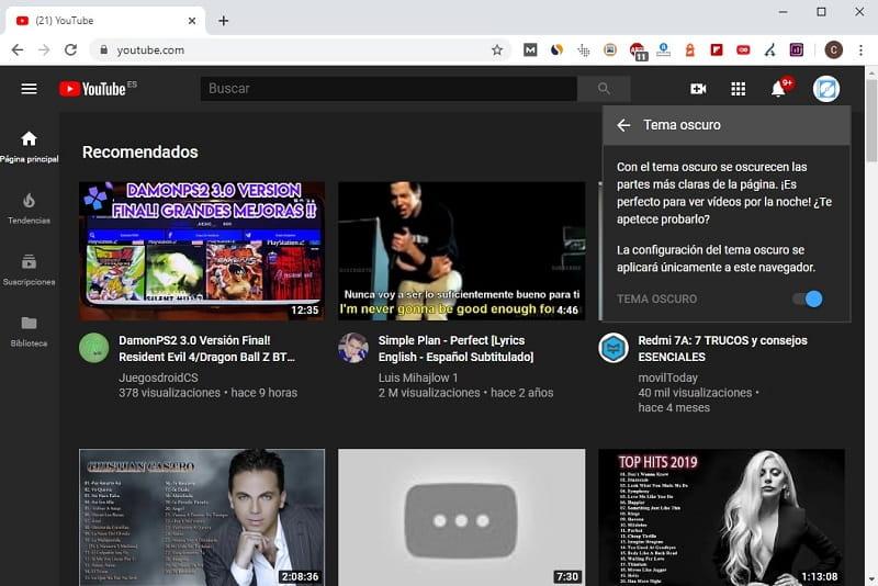 como activar modo oscuro en youtube pc