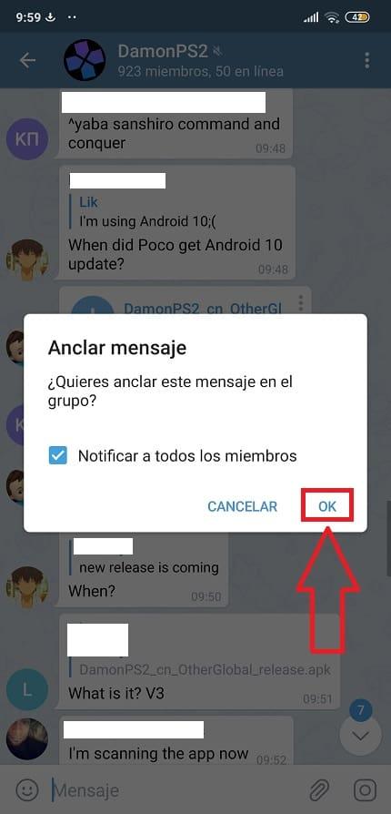 fijar mensaje en telegram