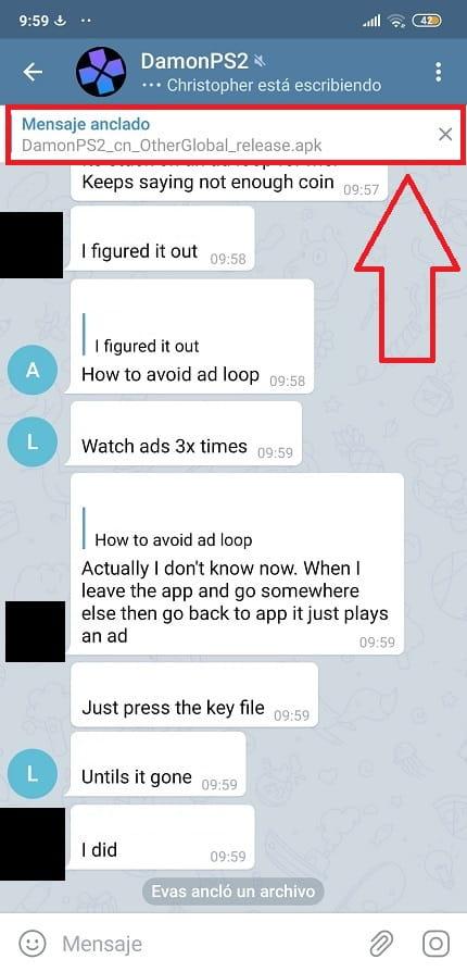 no veo mensaje anclado telegram